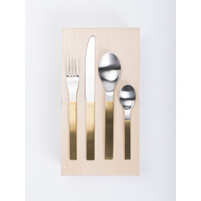 giftbox muller van severen brushed stainless steel, brass pvd coated 16 pcs Muller Van Severen