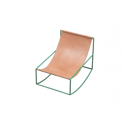 FIRST ROCKING CHAIR 81X60 H65 GREEN FRAME/LEATHER