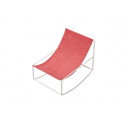ROCKING CHAIR 81X60 H65 WHITE FRAME/TEXTILE RED