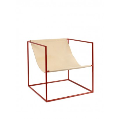 SOLO SEAT 62X62 H61 RED FRAME/LEATHER Muller Van Severen