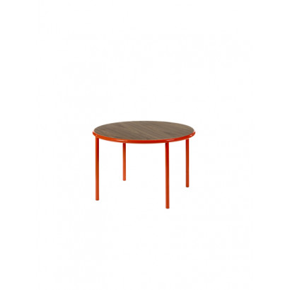 WOODEN TABLE ROUND RED / WALNUT Muller Van Severen