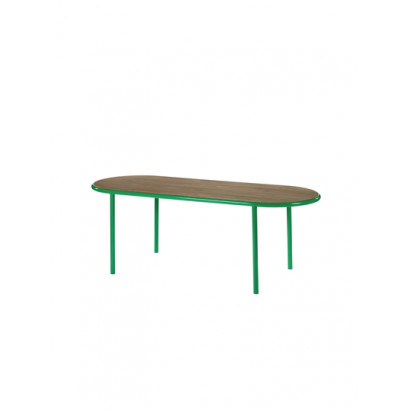 WOODEN TABLE OVAL GREEN / WALNUT Muller Van Severen