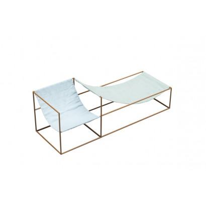 SEAT BLUE/GREEN 180X60 H61 MUSTARD FRAME/TEXTILE
