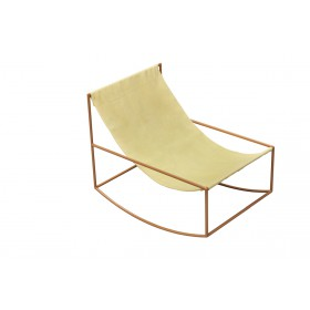 FIRST ROCKING CHAIR 81X60 H65 BRASS FRAME/LEATHER Muller Van Severen