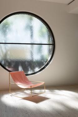 rocking chair brass_pink Muller Van Severen
