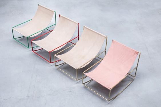 rocking chair red_leather Muller Van Severen
