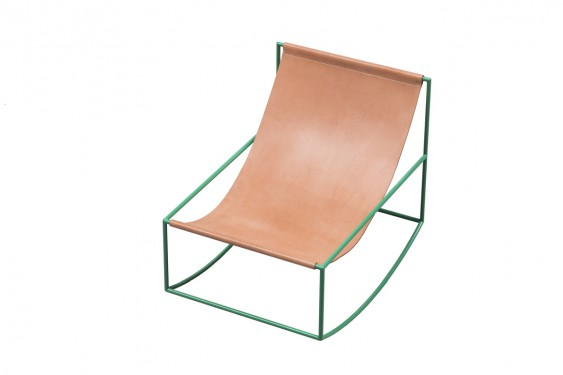 FIRST ROCKING CHAIR 81X60 H65 GREEN FRAME/LEATHER Muller Van Severen