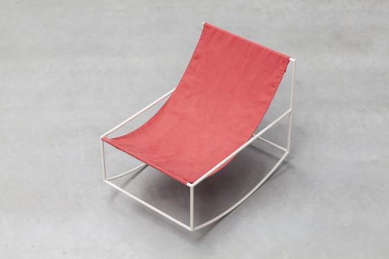 ROCKING CHAIR 81X60 H65 WHITE FRAME/TEXTILE RED Muller Van Severen