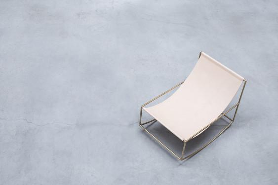 rocking chair brass_leather Muller Van Severen