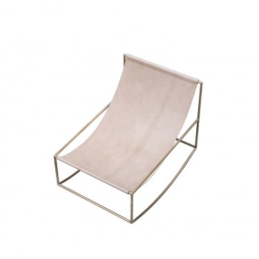 rocking chair brass_leather Muller Van Severen