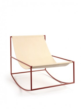 FIRST ROCKING CHAIR 81X60 H65 RED FRAME/LEATHER Muller Van Severen