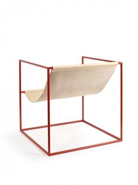 SOLO SEAT 62X62 H61 RED FRAME/LEATHER Muller Van Severen