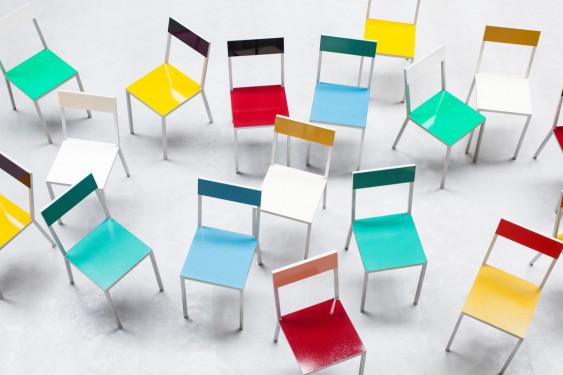 alu chair burgundy_candy green Muller Van Severen