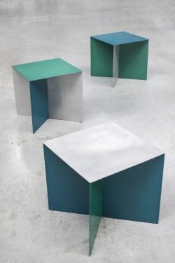 alu square top hammerpaint blue Muller Van Severen