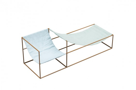 SEAT BLUE/GREEN 180X60 H61 MUSTARD FRAME/TEXTILE Muller Van Severen