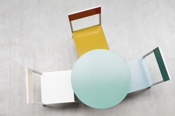 ALU CHAIR 52,5X38 H80 HAMMERPAINT BLUE/HAMMERPAINT GREEN Muller Van Severen